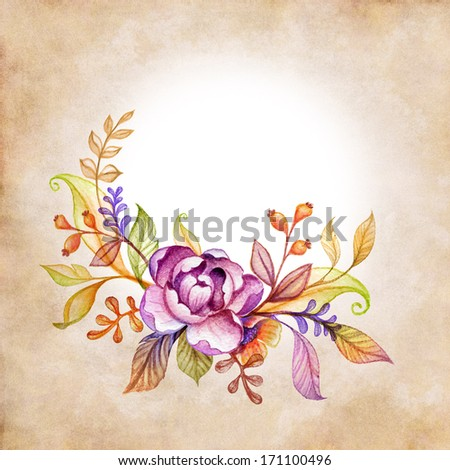 watercolor floral composition on vintage paper background - stock photo