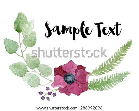 Watercolor floral composition with dark red anemone flower, eucalyptus branches and fern. It will be great for a lovely invitation, greeting card, or elegant wedding. Real watercolor painting. - stock photo