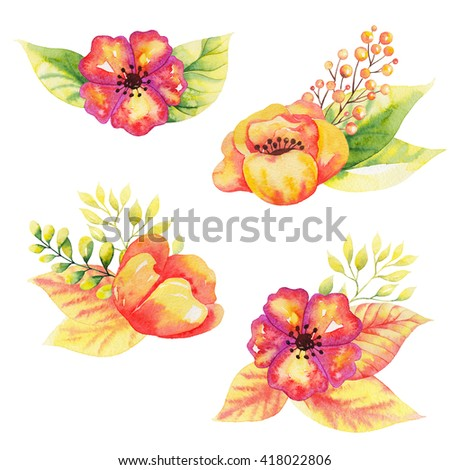 Watercolor floral elements isolated on white background. Vintage style posy set with roses, feathers, hellebore flower, berries, leaves. Natural hand painted design object - stock photo