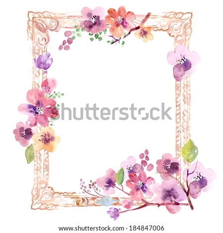 Watercolor floral frame with sakura - stock photo