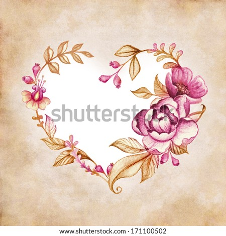 watercolor floral heart composition on vintage paper background - stock photo