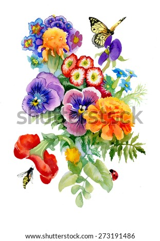Watercolor floral illustration with butterfly. Bright flower bouquet isolated on white background. - stock photo