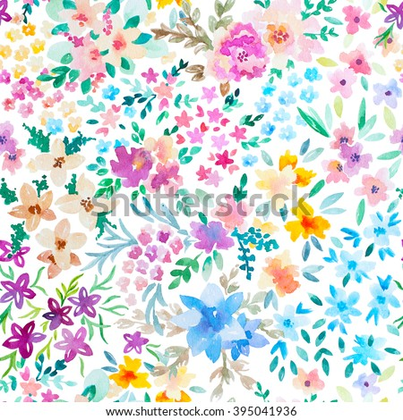 Watercolor floral pattern - stock photo