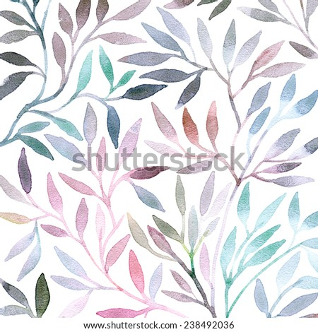 Watercolor floral pattern. Leaves background. Greeting card. - stock photo