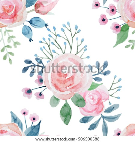 Watercolor Floral Pattern With Roses Primitive Gentle Retro Wallpaper