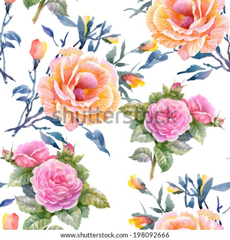 Watercolor floral seamless pattern on white background - stock photo
