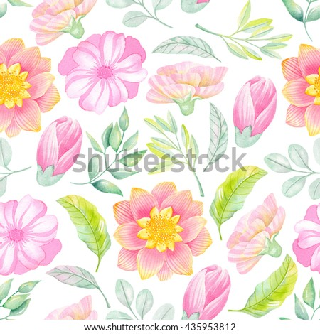 Watercolor floral seamless pattern.Pink flowers. Watercolor pastel flowers. - stock photo