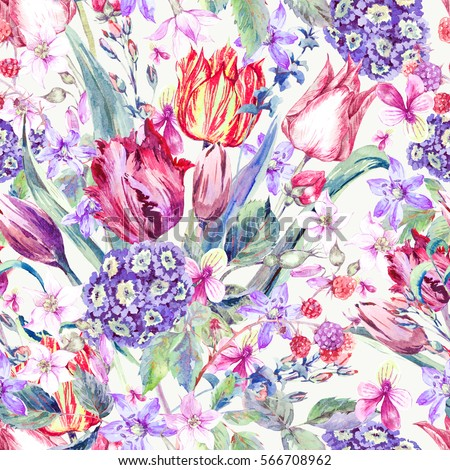 Watercolor Floral Spring Seamless Pattern, Vintage Flowers Bouquet, purple tulips, wildflowers, strawberries, twigs and leaves, botanical watercolor illustration