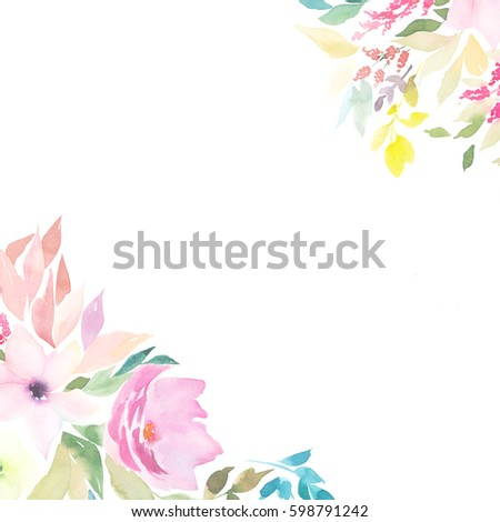 Watercolor Floral Card Wedding Easter Birthday Stock Illustration