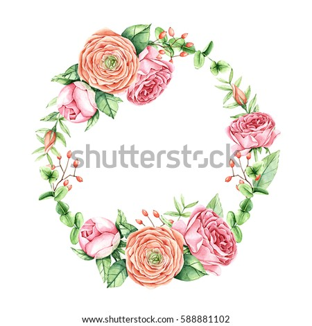 Watercolor Vintage Flowers Wreath Hand Painted Stock Vektorgrafik 262920314