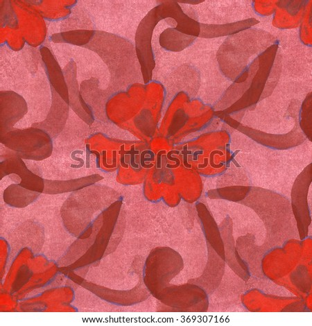watercolor flower pattern seamless red brown berry floral background spring illustration wallpaper vintage art flowers