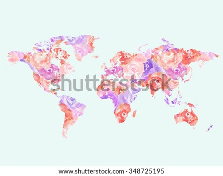 Watercolor flower world map art painted stock illustration watercolor flower world map art painted floral map watercolor world map artistic map gumiabroncs Choice Image