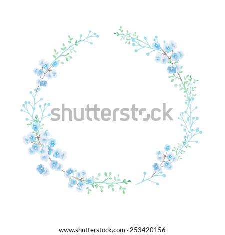 Watercolor flower wreath in blue green tones - stock photo