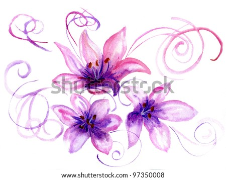 Watercolor flowers a lily on a white background. - stock photo