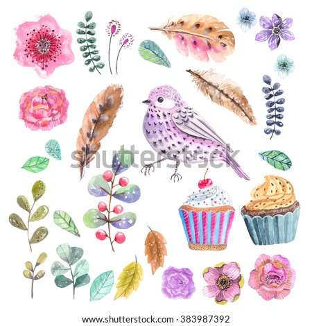Watercolor flowers and leaves, details for beautiful design, the 8th of march design, women's day - stock photo