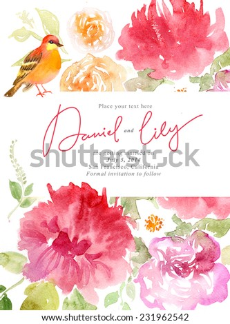 Watercolor flowers background - stock photo