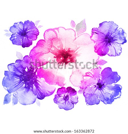 Watercolor flowers. Colorful hand drawn illustration. - stock photo
