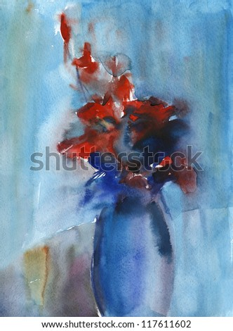 Watercolor flowers. Flowers in a vase. Watercolor painting in some abstract manner. - stock photo