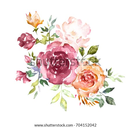 Watercolor flowers hand painted floral illustration stock watercolor flowers hand painted floral illustration bouquet of flowers pink rose leaves mightylinksfo