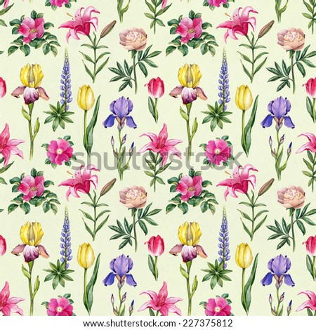 Watercolor flowers illustration. Seamless pattern  - stock photo
