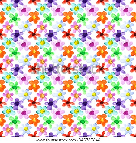 Watercolor flowers - multicolored seamless floral pattern - stock photo