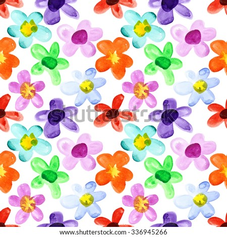 Watercolor flowers - multicoloured seamless floral pattern - stock photo
