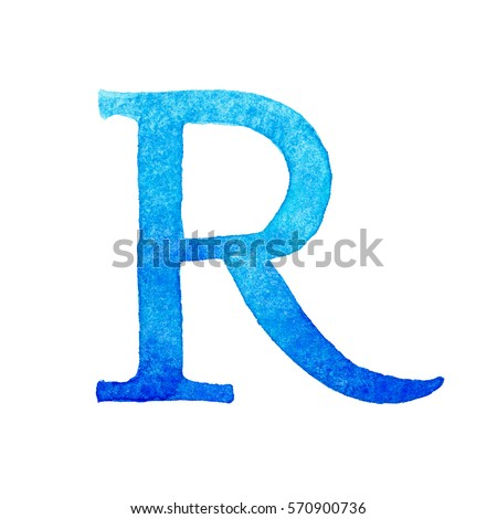 abc letters alphabet watercolor hand painted gradient blue colors isolated