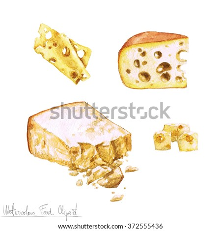 Watercolor Food Clipart - Dairy Products and Cheese - stock photo