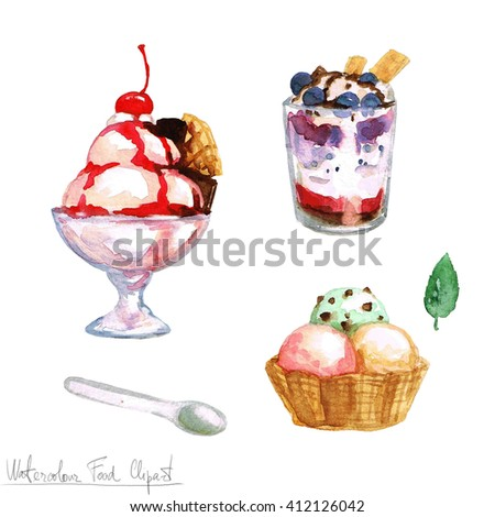 Watercolor Food Clipart - Ice Cream - stock photo