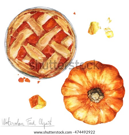 Watercolor Food Clipart - Pumpkin Pie