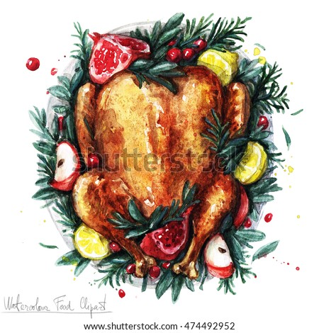 Watercolor Food Clipart - Roast Turkey