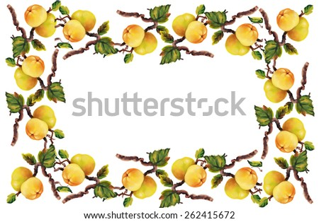 Watercolor frame apples on tree twigs on white background - stock photo