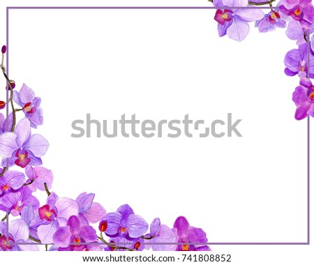 Watercolor Frame Orchid Stock Illustration 741808852 - Shutterstock