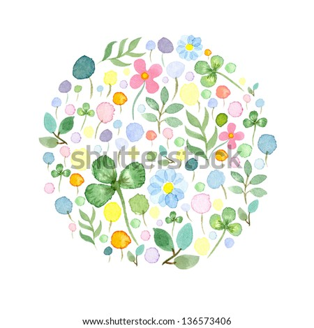 Watercolor frame template  with spring flowers 3 - stock photo