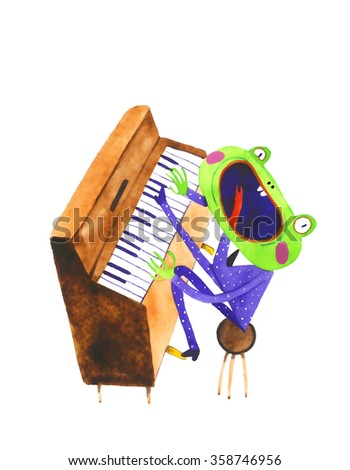 watercolor frog pianyst, piano, cartoon illustration isolated on white background - stock photo