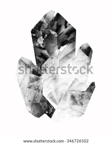 Watercolor gemstone. mineral. abstract illustration - stock photo