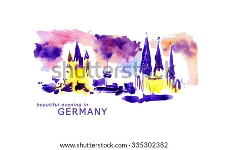 Watercolor Germany landscape illustration. Hand drawn artistic picture of German nature. European landscape illustration. Good for book or article illustration, print design. - stock photo