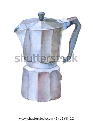 watercolor, geyser coffee - stock photo