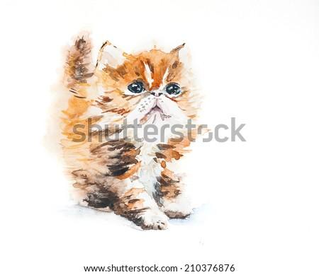 Watercolor ginger kitten. Illustration. - stock photo