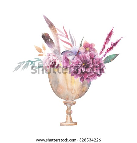 Watercolor golden antique chalice with fruits, flowers, feathers, branches, herbs isolated on white background. Boho chic hand painted illustration with roses, dahlia, peony, astilbe and hellebore - stock photo