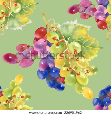 Watercolor grape seamless pattern on green background - stock photo