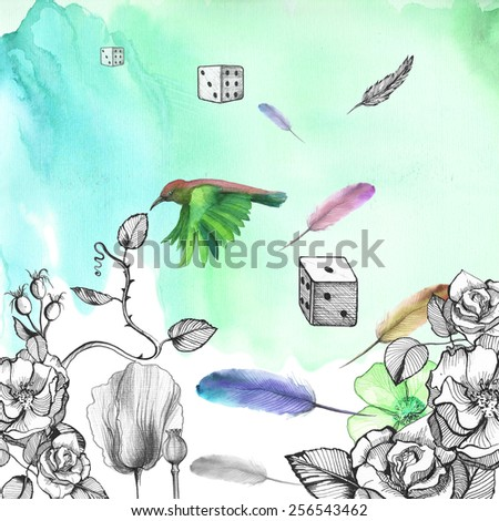 Watercolor green background with ornament made of flowers: roses, rose, poppies with flying feathers, dice, hummingbirds. - stock photo