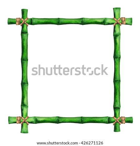 Watercolor green bamboo frame with ropes isolated on white background. Hand painting on paper