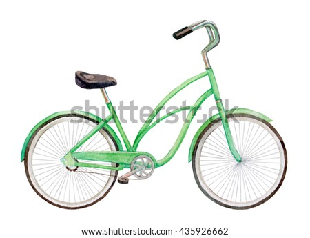 Watercolor green bicycle