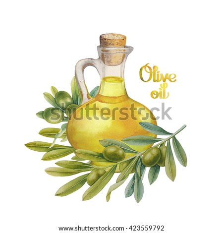 Watercolor green olives in the glass bottle. Hand painted natural design