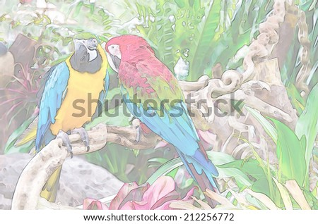 Watercolor Green Parrot Image.Digital Painting - stock photo