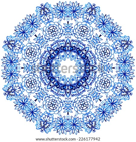 Watercolor gzhel. Doily round lace pattern, circle background.Oriental motif - stock photo