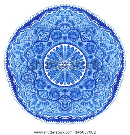 Watercolor gzhel. Doily round lace pattern, circle background with many details, looks like crocheting handmade lace, lacy arabesque designs.Orient traditional ornament. Oriental motif - stock photo