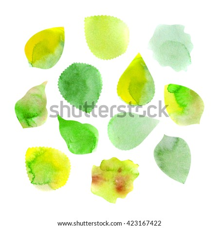 Watercolor hand drawn artistic colorful paint drops, spots isolated on white background. Ink drawing. Logo backdrop template. Leaf set, collection.  - stock photo