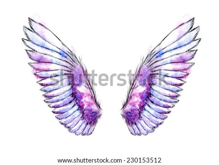 Watercolor hand drawn blue and violet delicate angel wings. - stock photo